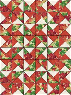 Autumn Fall Leaves Fabric Pinwheel Thanksgiving Fast Easy Make Pre-Cut Quilt Blocks Top Kit Quilting Squares Pieces Material