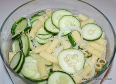 Cool Cucumber Pasta Salad.   Would have never thought to add pasta........ Aug 2013 - made this.  It was much better than I had anticipated.  Will not make as my standard everyday dish, but will make again - esp for potluck or dinner parties.