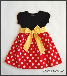 54ba011bb766d Minnie dress**Mickey Mouse dress**Toddler girls dress**Black, red polka  dots, yellow sash**Dress for Disney World**Minnie Mouse dress*Custom