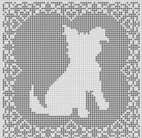 Cross Stitch Patterns - Dogs - SHAGGY DOG FILET CROCHET PATTERN Doily Afghan Picture