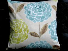 Duck egg & mustard flowers 16  cushion cover by EllieBdesigns, $13.00