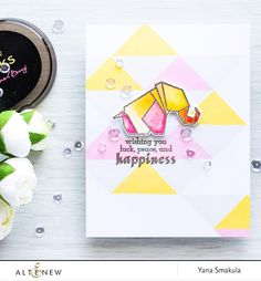 Altenew   Geometric Stamping and Watercolor Card by Yana Smakula
