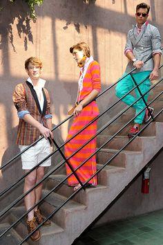 gant by michael bastian spring 2012. orange/pink for women, teal bottms for men.