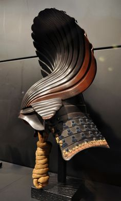 Japanese Samurai Kabuto (helmet)  [never have I seen such a helmet before, super impressive and the Shinobi-no-o (chin cord) is amazing!]