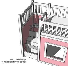 """diy  plans to build playhouse loft bed stairs that open to storage underneath - this is awesome!!!"" Ah ha, here it is! I wonder if I could play with the other side and add a slide?! How cool would that be?"