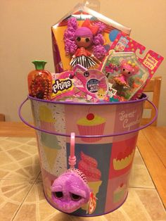 Easter Gift Basket for Girls who love Lalaloopsy and Shopkins