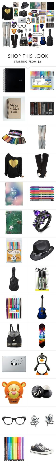 """""""Babysitting"""" by livyv123 ❤ liked on Polyvore featuring Sharpie, Free People, GUESS, R.S.V.P, Disney, Chanel, Paper Mate, Music Notes, Eos and Gucci"""