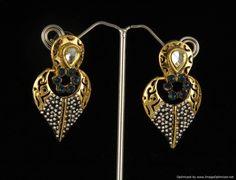 Indian Bollywood Designer Fashion Jewelry Gold Pearl Dangalers Earrings Set #VGJewel #DropDangle
