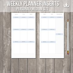 Undated weekly planner inserts - Medium/Personal Size - Icy Blue