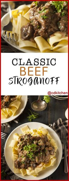 This outstanding and easy-to-follow recipe will be your go-to for classic beef stroganoff. Sirloin steak, mushrooms, and onion go into a savory sour cream sauce that tops warm egg noodles. | CDKitchen.com