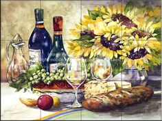 Spring 'Wine & Sunflowers' Painting on Canvas East Urban Home Painting Prints, Fine Art Prints, Paintings, Sunflower Art, Tile Murals, Ceramic Decor, Cool Posters, Beautiful Artwork, Prints For Sale