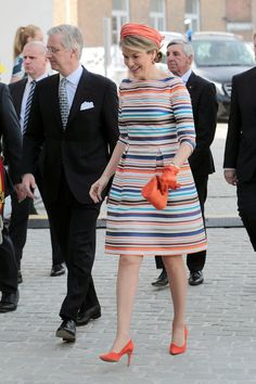 Pin for Later: Queen Mathilde of Belgium Steps Into Spring in a Bright Rainbow Dress