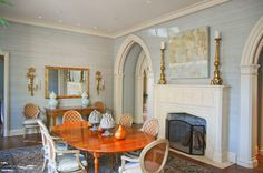 Dining room with Tudor arch fireplace -- J Wilson Fuqua & Assoc . light and bright tudor Tudor Cottage, Home, Traditional Dining Room, Dining, Dining Room, Fine Dining, Briarwood, Home Decor, Room