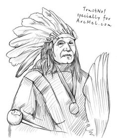 Before drawing an Indian I would like to tell you a little about Indians. An Indian is our red-skin brother. He was called so because of Columbus' mistake Native American Drawing, Native American Paintings, Native American Indians, Easy Drawings, Pencil Drawings, Cherokee Indian Art, Indian Drawing, Navajo Art, Acrilic Paintings
