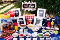 "I found this great party idea on one of my favorite sites... Hostess Blog This party is so easy! You set up a ""Make your own Hot Dog"" stat..."