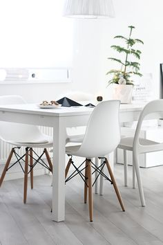 .again the chairs for dining in white - the style would be perfect for durability and cleaning