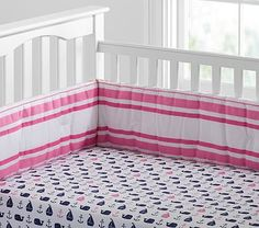 If it's a girl..... Hamptons Whale Crib Fitted Sheet #pbkids