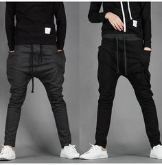 Sarouel Baggy Tapered Bandana Pants Hip Hop Dance Harem Sweatpants Drop Crotch Pants Men Parkour Sport Track Tapered Trousers