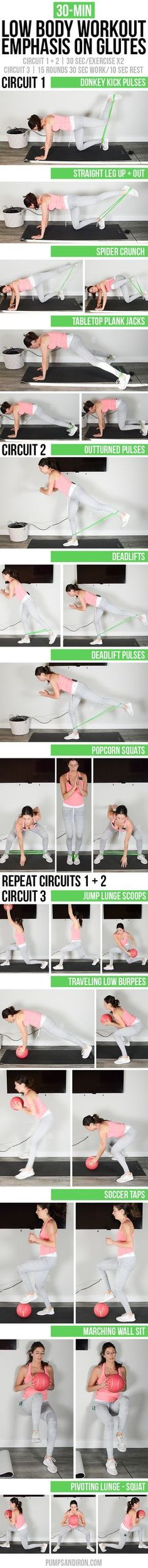 You'll need a resistance band and medicine ball for this 30-minute low body workout focusing on the glutes. Video included so you can follow along at home or the gym!   Pumps & Iron