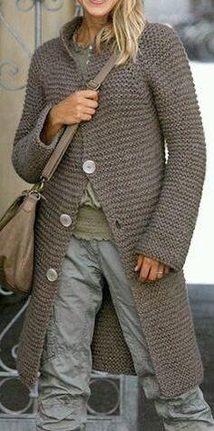 Chunky Knit Coat Cardigan Hand Knit Long Jacket Knitwear Women Fall Winter Fashion MADE to ORDER Free Shipment