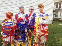 """Joseph's Coat of Many Colors Game - I invented this game for Vacation Bible School this summer.  It's sort of a variation of the game where you create a gown for your teammate using rolls of toilet paper.  Each team just used streamers and ribbon to decorate their """"Joseph"""" with his coat of many colors."""