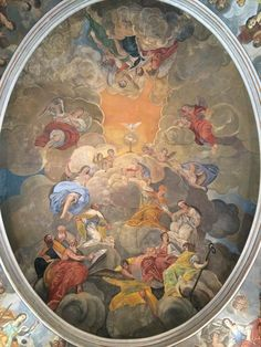 Antonio Ramos y posiblemente José Martín de Aldehuela. Vista general de la Escalera y cúpula con Fresco (anónimo). Mitad del XVIII. Palacio Episcopal de Málaga.