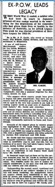 1953 New President of Brisbane Legacy, Mr A P Garde son of Maryborough medico Dr Lee Garde.