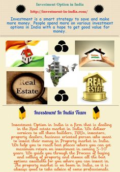 Investment in India Team is the one, who helps you in developing Real estate market in India. Our professional serves you the best facilities in both where to invest in, and how to invest? What are the best options for investing? Investment In India, Where To Invest, Smart Strategy, Real Estate Marketing, Investing