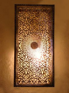 Moroccan Nickel Silver wall light, sconce and its delicately engraved openwork rose pattern. Moroccan Arts and Crafts Moroccan Ceiling Light, Morrocan Decor, Moroccan Art, Moroccan Lighting, Moroccan Lanterns, Moroccan Interiors, Moroccan Design, Morrocan Bathroom, Wall Sconce Lighting