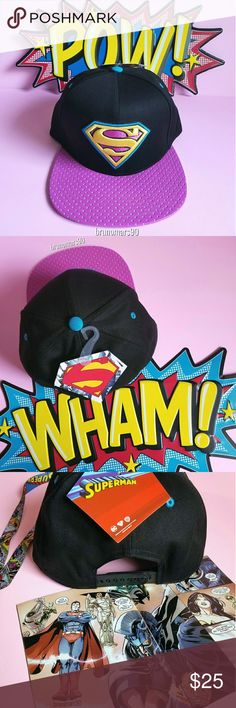 🎉HP🎉 DC Comics Superman Snapback Hat NWT This stylish Superman/Supergirl baseball cap will have you standing out in every crowd. Featuring a retro Superman logo patch graphic, and an adjustable back. One size fits most. No trades.  🎉HOST PICK🎉 Best In Jewelry & Accessories Party DC Comics Accessories Hats