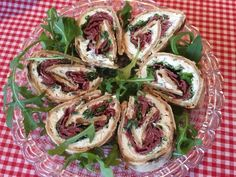 Cold-smoked reindeer and goat cheese pinwheels