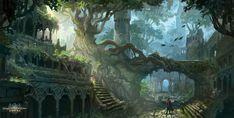 ArtStation Dragon s Dogma Online: Elven City Marthe Jonkers Fantasy concept art Elven city Fantasy landscape