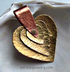Three Hearts Brass and Copper Pendant | zoraida - Jewelry on ArtFire #ckdin...I like the bail