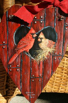Cardinals in red barn birdhouse painting by sherrylpaintz