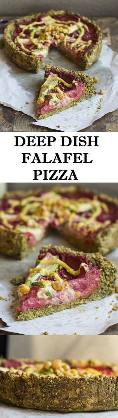 Deep dish falafel pizza filled with creamy beetroot hummus and drizzled with a cheesy tahini sauce