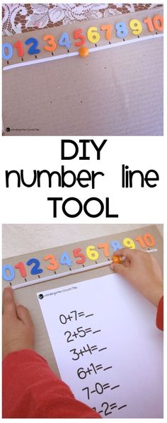This easy DIY number line counting tool is perfect for young children that are starting to learn the concept of counting on a number line. Math For Kids, Fun Math, Math Games, Math Activities, Number Line Activities, Math Classroom, Kindergarten Math, Teaching Math, Line Tools