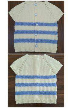 Mavi çizgili krem renk erkek bebek yeleği