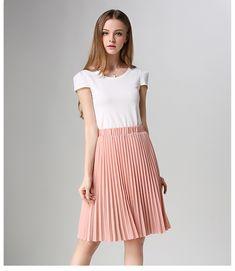 6d11a307da Pleated Skirt Spring/Autumn 2017 European Style Elegant Tulle Pleated Skirt  Blue Chiffon Skirt Women's