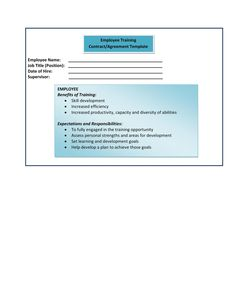 Form Employer Training ContractAgreement Template  Human
