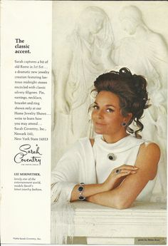 Sarah Coventry Jet Set Jewelry Original 1970 by VintageAdarama, $9.99 Sarah Coventry Jet Set Jewelry Original 1970 Vintage Print Ad Color Photo Lee Meriwether Helen Rose Gown Old Rome Classic Accent