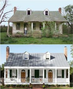 10 Inspiring Before and After Exterior MakeoversBECKI OWENS is part of home Renovation Before And After - Today I am sharing some before and after action! These ten exterior makeovers are full of ideas on how you can give your own home a facelift Old Home Renovation, Old Home Remodel, Farmhouse Remodel, Bath Remodel, Farmhouse Style, Kitchen Remodel, Home Exterior Makeover, Exterior Remodel, Exterior House Colors