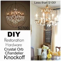 VINTAGE ROMANCE STYLE: DIY Restoration Hardware Crystal Orb Chandelier Knockoff Tutorial