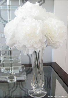 Make fluffy coffee filter Peonies tutorial.  AND 45 BEST FRENCH Spring Party, Crafts & Decor Tutorials EVER with their LINKS!!! GIFT, PARTY, EVENT, SPRING, WEDDING DECOR. Blog & Photos from MrsPollyRogers.com