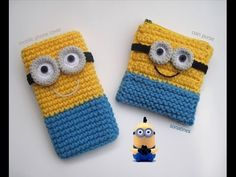Inspiration: Minion crochet Iphone cover for Minion crochet coin purse Crochet Phone Cover, Crochet Case, Crochet Coin Purse, Crochet Purses, Love Crochet, Crochet Gifts, Crochet For Kids, Crochet Toys, Knit Crochet