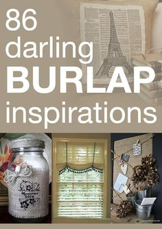 86 darling burlap inspirations  55% off burlap bags now on http://www.pickyourplum.com/