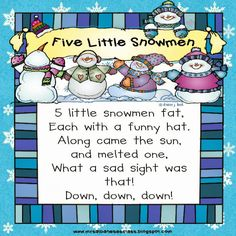 5 Little Snowmen - A Winter Poem {Freebie}
