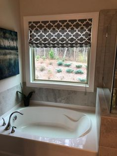 My beautiful Roman shade! Bathroom Red, New House Plans, Home, House Styles, Inspired Homes, Roman Shades Bathroom, Bathroom Decor, Bathroom Window Treatments, Large Bathrooms