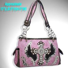 Pink Cross and Wing Rhinestone Purse w Matching Wallet Handbag Leather Retro Fashion Handbags, Purses And Handbags, Leather Handbags, Cowgirl Outfits, Cowgirl Boots, Pink Camo, Pink Purple, Camo Bridesmaid Dresses, Cross Purses