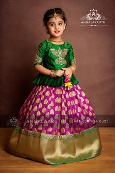 Angalakruthi-Custom designer boutique in Bangalore We. Girls Frock Design, Baby Dress Design, Kids Frocks Design, Baby Frocks Designs, Baby Girl Lehenga, Kids Lehenga, Lehenga Saree, Kids Dress Wear, Kids Gown