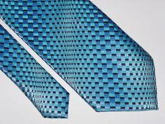 BERGAMO NEW YORK Mens Neck Tie Gorgeous Blue Geometric Polyester Long #BergamoNewYork #Tie
